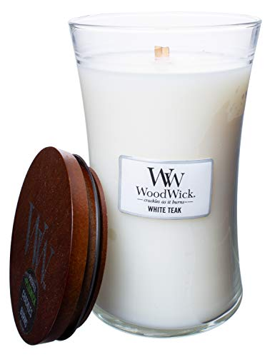 Wood.Wick WW White Teak, Highly Scented Candle, Classic Hourglass Jar, Large 7 inches, 21.5 OZ