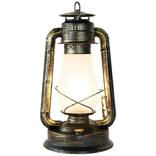 FFLJT Lampara de mesa - Pais retro nostalgico de la personalidad de noche dormitorio lampara de mesa Creative Art Cafe Claro Bar Hierro forjado linterna de iluminacion