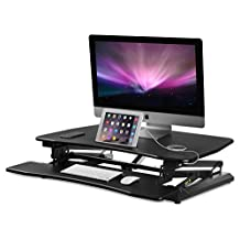 Mount-It! Electric Motorized Sit Stand Workstation Standing Desk Converter, Ergonomic Height Adjustable Tabletop Desk, Black