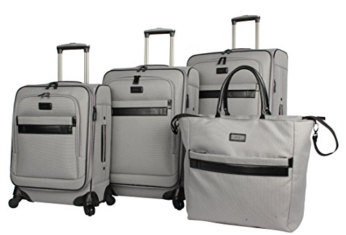 Nicole Miller New York Coralie Collection 4-Piece Luggage Set: 28'', 24'', 20'' Expandable Spinners and Tote Bag (Gray) by Nicole Miller New York