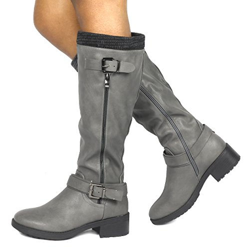 DREAM PAIRS Womens Knee High Riding Boots (Wide Calf Available) Grey Pu