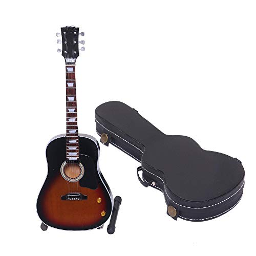 NOVICA Handmade Steel and Wood Miniature Guitar, Black and Brown, Acoustic Bliss'