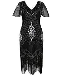 Black & Silver 1920s Sequin Art Dress with Sleeve