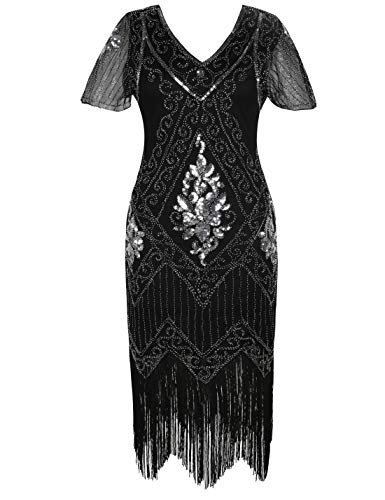 PrettyGuide Women's 1920s Dress Art Deco Sequin Fringed Flapper Dress L Black Silver ()