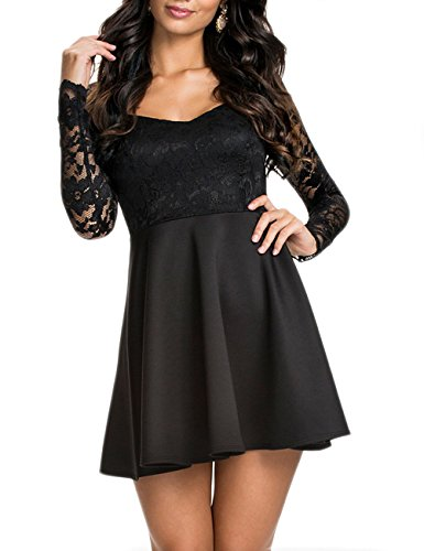 NuoReel Women's Lace Bodice Skater Dress (XX-Large, black)
