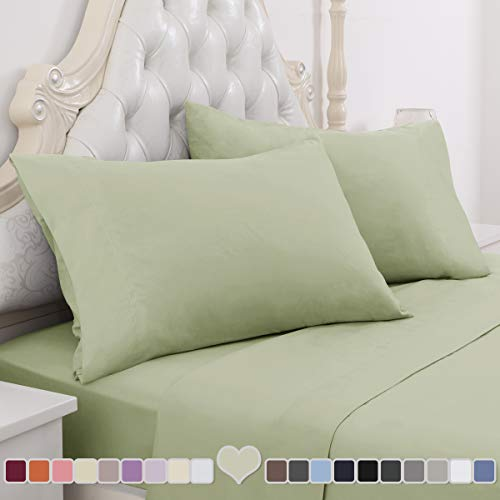 HOMEIDEAS 4 Piece Bed Sheet Set (Full, Sage Green) 100% Brushed Microfiber 1800 Bedding Sheets - Deep Pockets, Hypoallergenic, Wrinkle & Fade Resistant