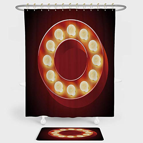 iPrint Letter O Shower Curtain And Floor Mat Combination Set Entertainment World in Vegas Theme Vintage Casino Nightclub Theater Typeset For decoration and daily use Ruby Yellow ()