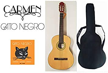 Pack guitarra clásica Carmen C-725 de tamaño 4/4, con funda acolchada negra mochila y juego de cuerdas Gato Negro