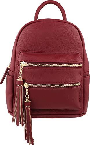B BRENTANO Vegan Multi-Zipper Top Handle Mini Backpack with Tassel Accents (Merlot)