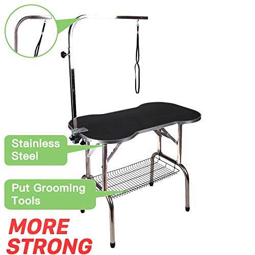 "Grooming Accessory Tray - Polar Aurora Pingkay Heavy Duty Stainless Steel Pet Professional Dog Bone Pattern Foldable Grooming Table w/Adjustable Arm & Noose & Mesh Tray (32"")"