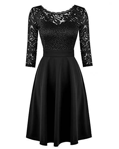 Women's Vintage Floral Lace Cocktail Party Knee Length Dress with 3/4 Sleeves
