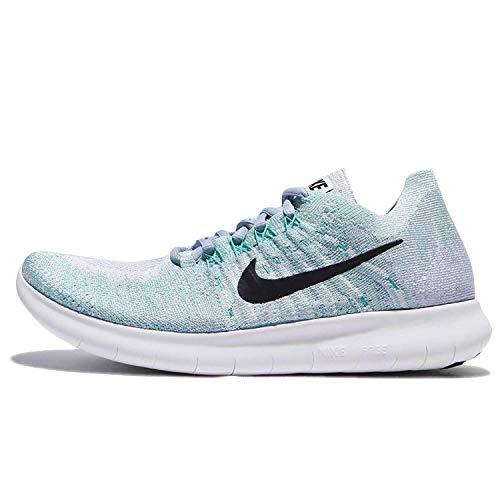 Nike Womens Free RN Flyknit 2017 Running Shoe BLUE TINT/BLACK-CIRRUS BLUE-AURORA GREEN 9.5