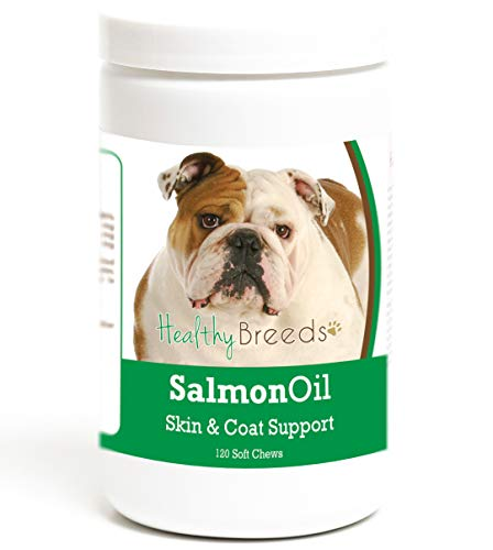 Healthy Breeds Dog Skin & Coat Salmon Oil Soft Chews for Bulldog - Over 200 Breeds - Reduce Shedding - Easier Than Capsules & Pumps - 120 Chews
