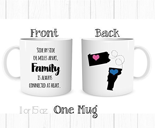 Personalized Side by Side or Miles Apart, Family Is Always Connected at Heart Mug, Long Distance Cup