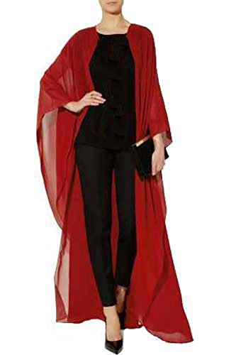Chiffon Kimono Over Dress Abaya Kaftan Pashmina Shawls Cape Wear (Red) (Egyptian Girl Sexy)