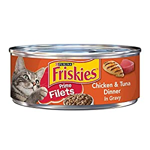 Purina Friskies Gravy Wet Cat Food; Prime Filets Chicken & Tuna Dinner in Gravy - 5.5 oz. Can,pack of 24 73