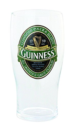 Guinness Green Collection Pint Glasses, 20 ounce - Beer Glass for Bar and - Green Guinness