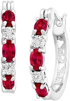 2 ct Created Ruby Hoop Earrings with Diamonds