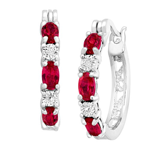 Finecraft 2 ct Created Ruby Hoop Earrings with Diamonds in Platinum-Plated Brass, .875-Inches