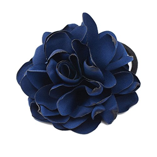 Women Ponytail Holder Hair Ties with Fabric Camellia Flower Rope Ring Ties JA90 (Navy Blue) (Lakers Costume)