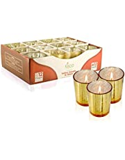 KISCO CANDLES: 12 Hour Votive Candles with Holders 12-Pack Gold Decorative Glass Home Decor, Beautiful Living Room, Kitchen, Bathroom Lighting | Long-Lasting Wax