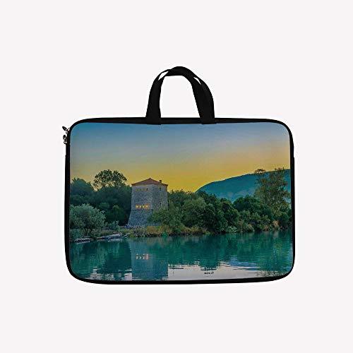3D Printed Double Zipper Laptop Bag,Site National Park at Sunrise Lake Sanctuary,14 inch Canvas Waterproof Laptop Shoulder Bag Compatible with 14