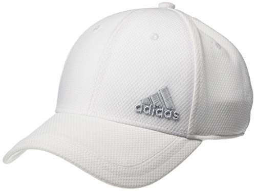 (adidas Men's Release Stretch Fit Structured Cap, White/Clear Grey, Small/Medium )