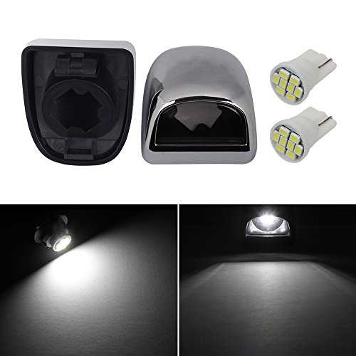 HERCOO License Plate Light Lamp Lens w/ LED Bulbs Aftermarket Replacement for 99-05 GMC Chevy Truck (Qty:2, White) -
