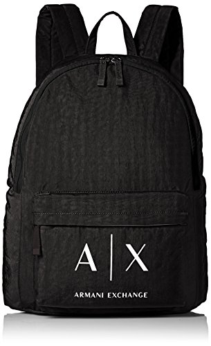 Armani+Exchange+Men%27s+Nylon+Snap+Closure+Backpack%2C+Black