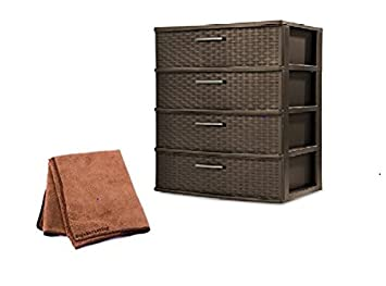 Sterilite 4 Drawer Wide Weave Tower For Bedroom With Driftwood Handles In  Espresso