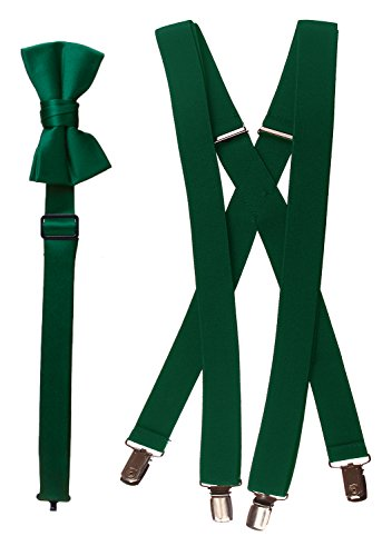 Tuxgear Boys Bow Tie and Suspender Set Combo, Forest Green, Boys 30 Inch (30