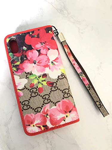 Phone case for iPhone Xs Max Wallet Case, 2 in 1 Wallet Luxury Elegant Leather Detachable Case Hand Strap Closure Flip Brown Cover Case for iPhone Xs Max (Flower Red)