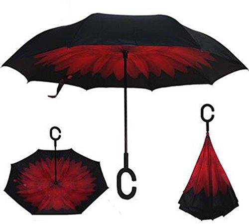Arrowhunt Persönlichkeit Frei Hände Rückwärts Double Layer Regenschirme Stockschirme