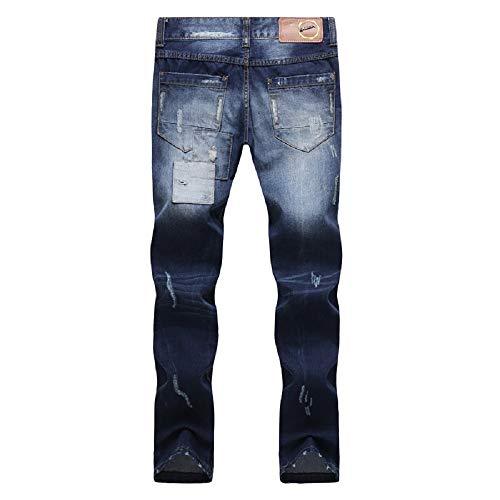 Ajuste Jeans Mezclilla Pantalones Vaqueros Rasgado destruidos pequeños Vaqueros Hombres de Azul los Delgado Azul del Remiendo de Pantalones de la Personalidad Pantalones elásticos pies FuweiEncore aqw5xP1d4q