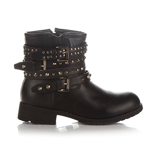 Black Ankle UP Biker Military Stud New Flat Shoes Combat Lace Womens Army SC Boots qOvHxC