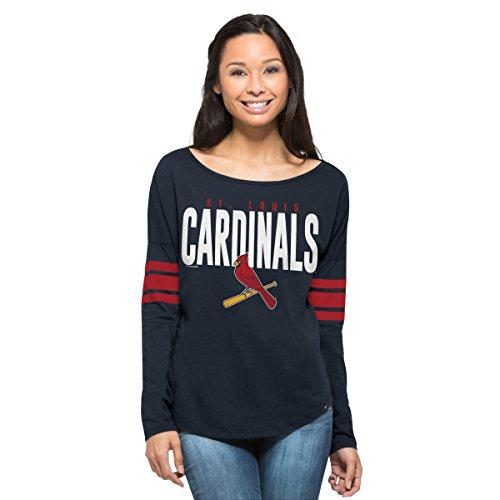 MLB St. Louis Cardinals Women's '47 Courtside Long Sleeve Tee, Fall Navy, Large (Louis Cardinals Long Sleeve)