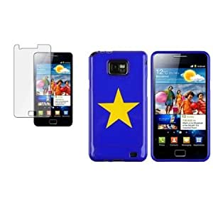 Bloutina CommonByte Blue TPU Soft Gel Case Cover Skin w/ Yellow Star + LCD For Samsung Galaxy S2 i9100