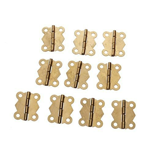 Gold Box Hinge - GBSTORE 10Pcs Mini Fashion Design Brass Color Butterfly Hinges Cabinet Drawer Door Butt Hinge