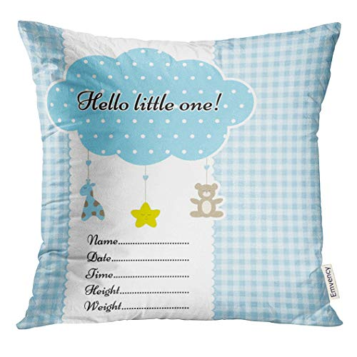 Golee Throw Pillow Cover Baby Arrival Announcement with Birth Metrics Text Nice Cloud Mobile with Toys Certificate on Blue Graph Decorative Pillow Case Home Decor Square 18x18 Inches Pillowcase