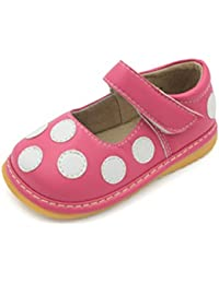 Squeaky Shoes | Black, Brown Pink Polka-Dot Mary Jane...