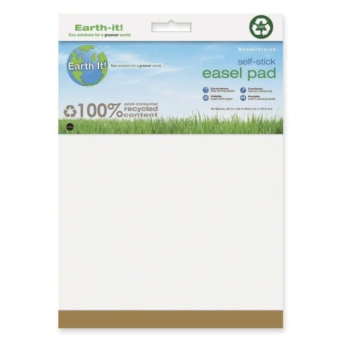 Wholesale CASE of 5 - Bi-silque Earth It! Self-stick Easel Pad-Self-Stick Easel Pad,Plain,25''x35-1/2'',30 Sh/PD,2PD/CT,White