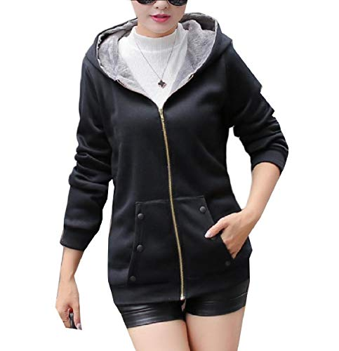 Zipper Coat Winter Solid Women Top Howme Fleece Black Hoode Fall Leisure qtzCUExwp