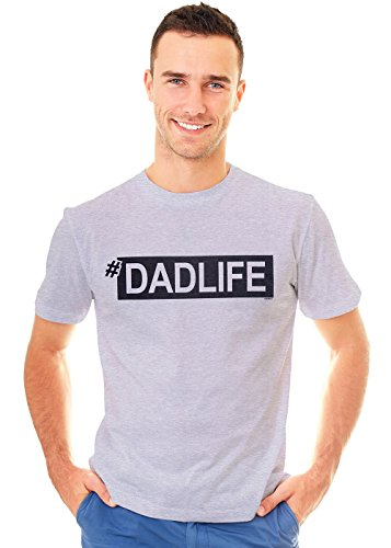 Retreez Funny Hashtag Dad Life Dadlife Father Daddy Graphic Printed Unisex Men T-Shirt Tee, Light Grey - -
