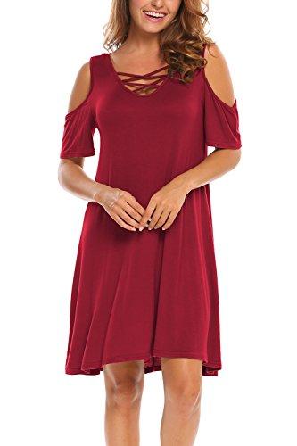 BLUETIME Women Cold Shoulder Criss Cross Neckline Short Sleeve Casual Tunic Top Dress (M, Red)
