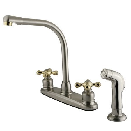 Kingston Brass GKB719AXSP Victorian Centerset Kitchen Faucet, 7 inch in Spout Reach, Brushed Nickel/Polished Brass (Spout Reach)