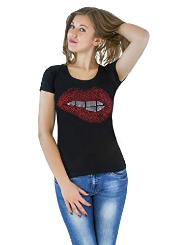 (Fashion Women's t-Shirt with Hot-Fix Sequins, Slim Fit, Cute Sparkly Applique)