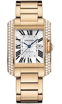 Cartier Tank Anglaise Silver Dial 18kt Pink Gold Mens Watch WT100003