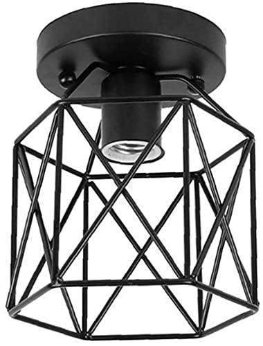 Tuimiyisou Plafondlamp Industriële Stijl LED Plafondlamp 200mm Semi-Flush Mount Plafondlamp Zonder Lamp Fitting Zwart…