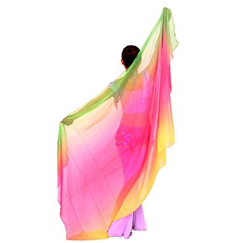 ROPALIA Womens Chiffon Belly Dance Shawl Veil Scarf Gradient Color 8747 inch ()