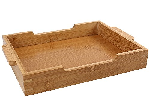 Bamboo Tray Bathroom Rectangle Serving Tray With Handles, 12 x 8.5
